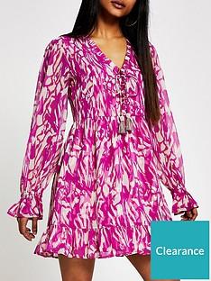 ri-petite-printed-mini-smock-dress-pink