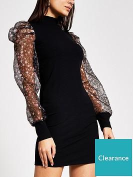 river-island-floral-organza-puff-sleeve-dress-black
