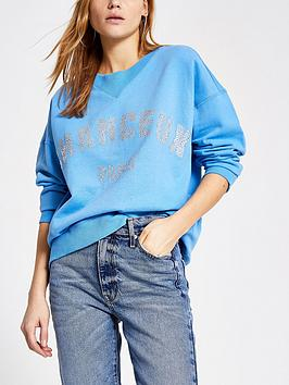 river-island-heatseal-slogan-sweater-blue