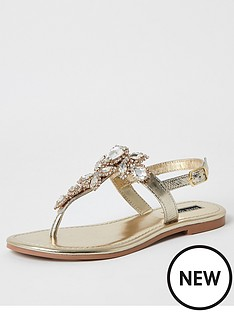 river-island-river-island-embellished-leather-thong-sandal-gold