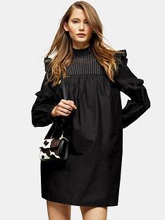 topshop-pintuck-topstitch-mini-dress-black