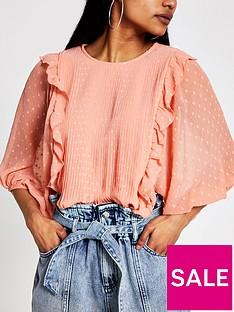 ri-petite-pleated-frill-detail-blouse-rust