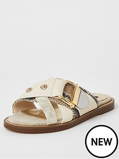 river-island-river-island-wide-fit-buckle-strap-sandals-beige