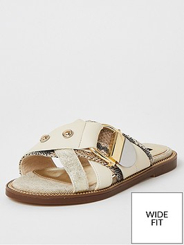 river-island-wide-fit-buckle-strap-sandals-beige