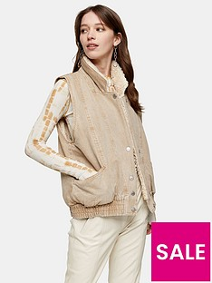 topshop-faux-shearling-lined-giletnbsp--sand