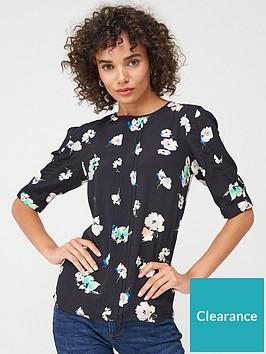 oasis-pop-floral-tuck-sleeve-top-multi