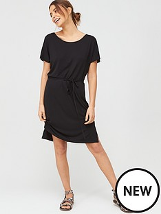 v-by-very-short-sleeve-jersey-beach-dress-black