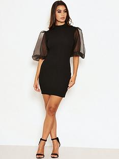 ax-paris-puff-sleeve-bodycon-dress-black