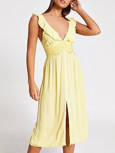 river-island-plunge-lace-insert-beach-midi-dress-yellow