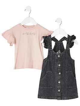 river-island-mini-girls-utility-pinafore-dress-and-t-shirt-black