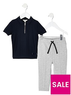river-island-mini-boys-knitted-polo-shirt-and-trouser-set-navy