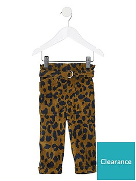 river-island-mini-girls-leopard-cord-paperbag-trousers--nbspbrown