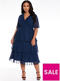 quiz-curve-chiffon-tiered-midi-dress-navy