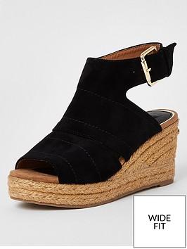river-island-wide-fit-espadrille-wedge-sandals-black