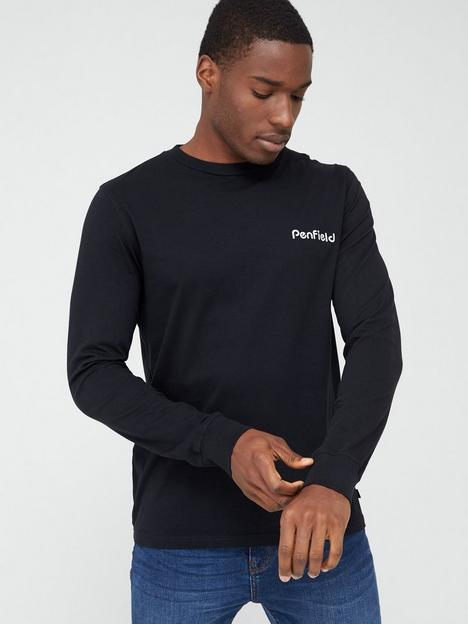penfield-dedham-chest-logo-and-back-print-long-sleeve-t-shirt-black
