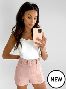 michelle-keegan-belted-tailored-short-blush