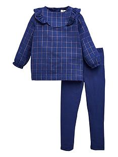 v-by-very-girls-lurex-checked-ruffle-dress-and-legging-set-navy