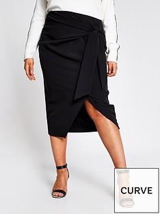 ri-plus-tie-wrap-asymmetric-pencil-skirt-black
