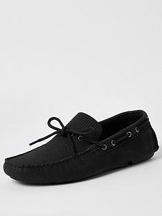 river-island-emboss-driver-shoes-black