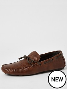 river-island-emboss-driver-shoes-brown
