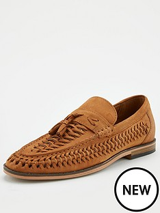 river-island-woven-leather-tassel-loafers-brown