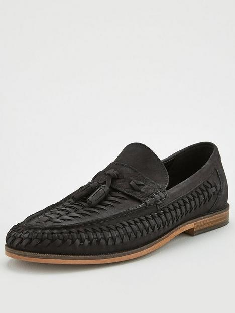 river-island-woven-leather-tassel-loafers-black