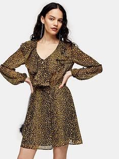 topshop-ruffle-bed-jacket-mini-dress-mustard