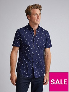 burton-menswear-london-short-sleeve-bird-print-poplin-shirt-navy
