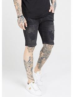 sik-silk-distressed-skinny-shorts-washed-black