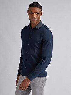 burton-menswear-london-jacquard-collar-long-sleeve-shirt-navy