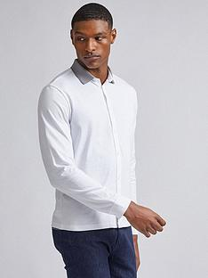 burton-menswear-london-jacquard-collar-long-sleeve-shirt-white