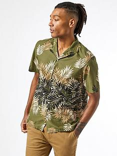 burton-menswear-london-short-sleeve-leaf-print-shirt-khaki
