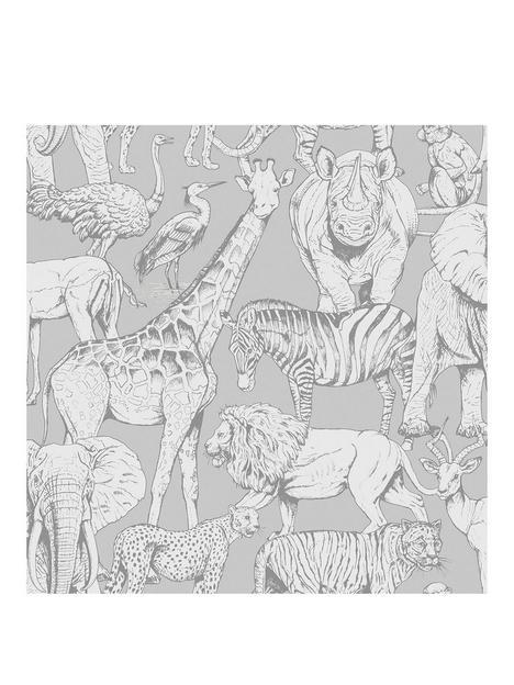 superfresco-easy-jungle-animals-grey-wallpaper