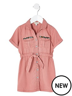 river-island-mini-mini-girls-tie-waist-shirt-dress-pink