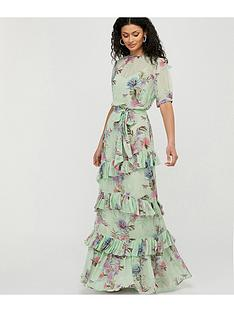prod1089365978: Aesha Tiered Print Maxi Dress - Green