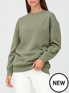 v-by-very-the-essential-longline-crew-neck-sweatshirt-khaki