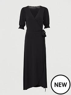 v-by-very-shirred-sleevenbspwrap-midaxi-dress-black