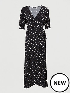 v-by-very-shirred-sleevenbspwrap-midaxinbspdress-polka-dot