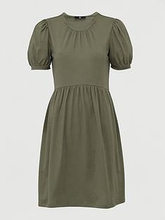 v-by-very-jersey-puff-sleeve-peplum-mini-dress-khaki