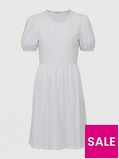 v-by-very-jersey-puff-sleeve-peplum-mini-dress-white