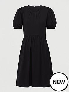 v-by-very-jersey-puff-sleeve-peplum-mini-dress-black