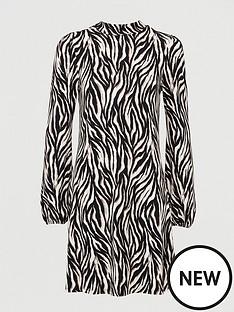 v-by-very-volume-sleeve-mini-dress-tiger-print