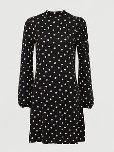v-by-very-volume-sleeve-mini-dress-polka-dot