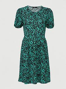 v-by-very-crinkle-puff-sleeve-peplum-mini-dress-print-multi