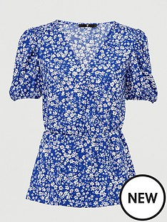 v-by-very-short-sleeve-button-front-tea-top-ditsy-floral