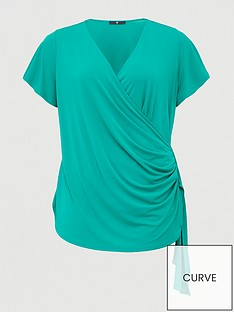 v-by-very-curve-wrap-draped-tunic-green