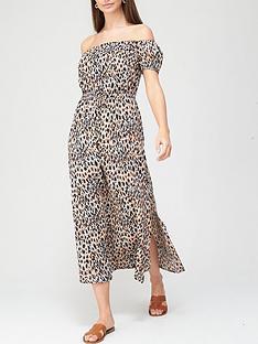 v-by-very-crinkle-bardot-beach-dress-animal-print