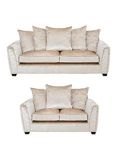prod1089313728: Glitz 3 Seater + 2 Seater Fabric Scatter Back Sofa - Champagne (Buy and SAVE!)