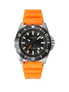 accurist-200m-divers-black-sunray-date-dial-orange-silicone-strap-watch