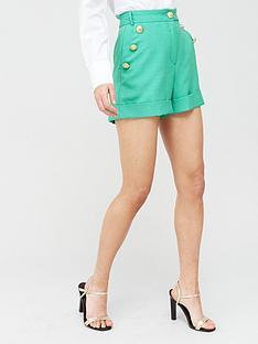 river-island-button-detail-shorts-green